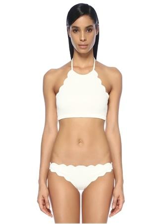 Marysia Kadın Mott Beyaz Halter Yaka Kıvrımlı Bikini Üstü XS Ürün Resmi