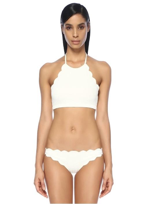 Mott Beyaz Halter Yaka Kıvrımlı Bikini Üstü