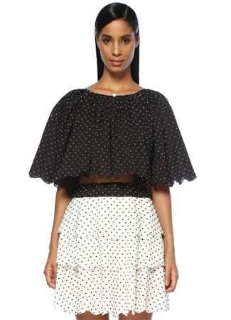 Marysia Kadın Moonstone Siyah Puanlı Reglan Kollu Crop Bluz XS Ürün Resmi
