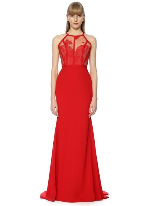 Dallon Kırmızı Halter Yaka Dantelli Maksi Elbise