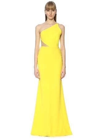 Alex Perry Kadın Serena Sarı ek Omuzlu Maksi Krep Elbise 8 AU Ürün Resmi