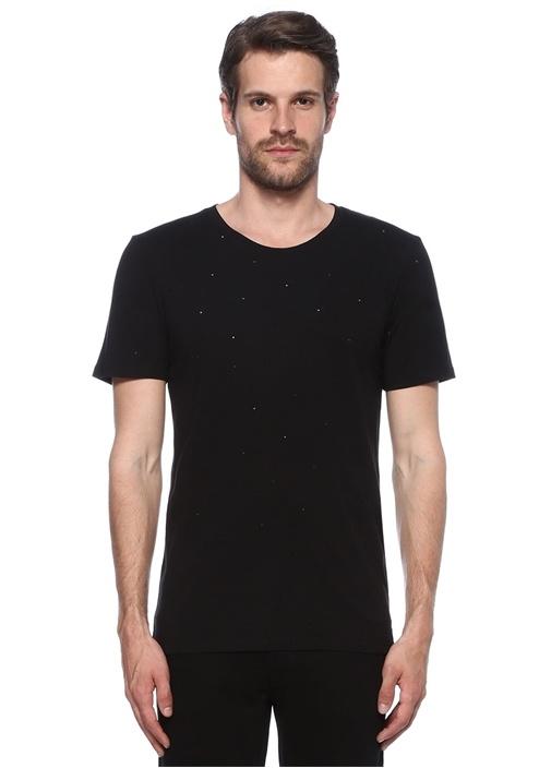 Siyah Yıpratmalı Basic T-shirt
