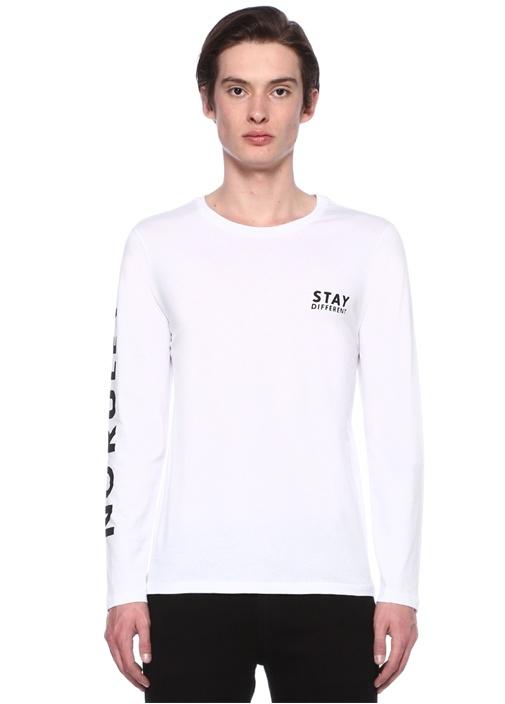 Beyaz Yazı Baskılı Uzun Kollu Tshirt