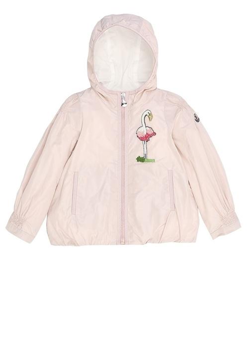 Pembe Flamingo İşlemeli Kapüşonlu Kız Çocuk Mont