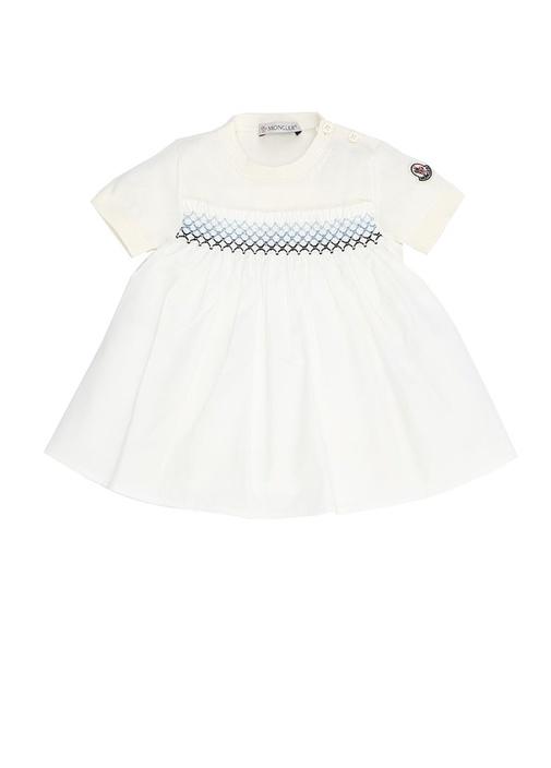 Beyaz Bisiklet Yaka Nakış Detaylı Kız Bebek Elbise