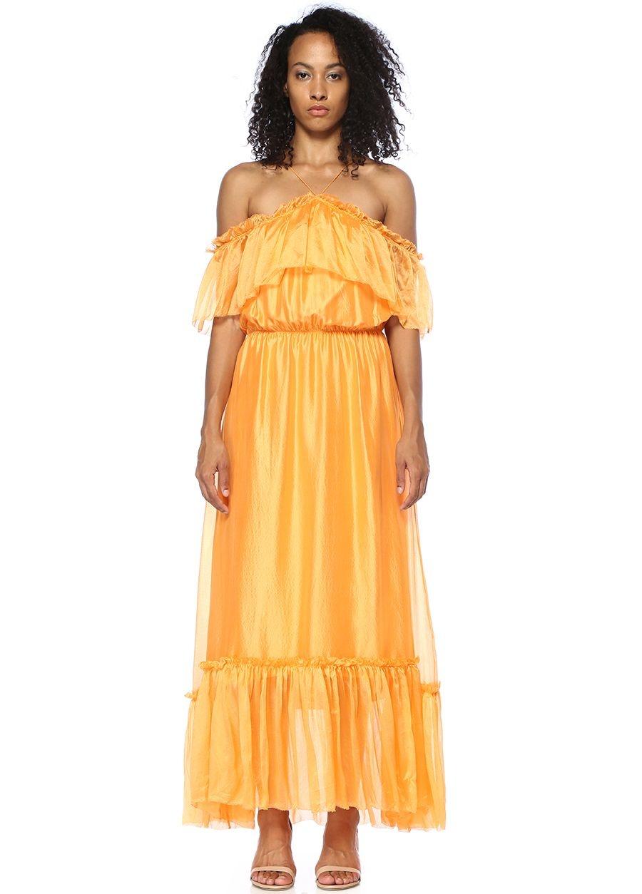 Designers Remix Dream Turuncu Fırfırlı Midi Elbise