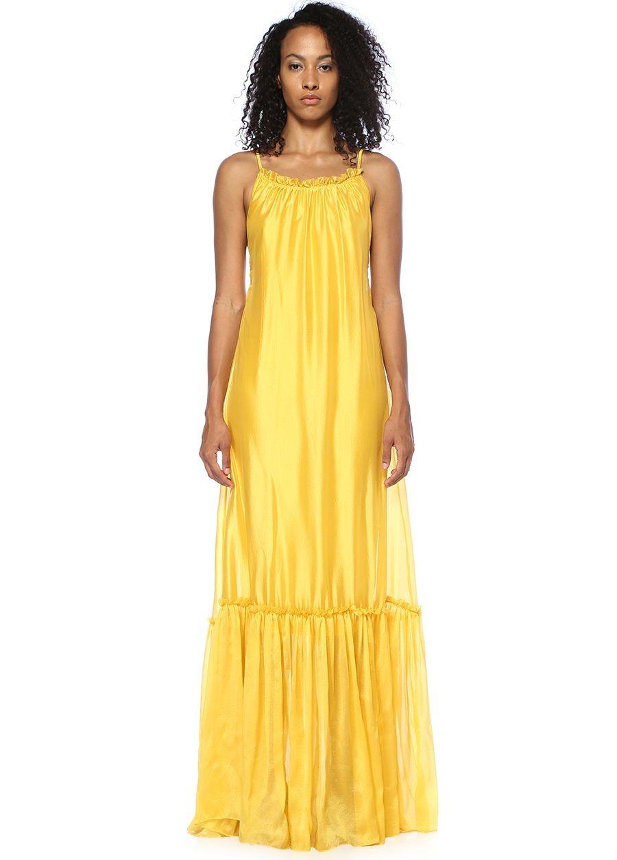 Designers Remix Dream Sarı Fırfırlı Midi Elbise