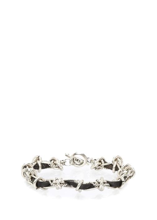 Düğüm Detaylı Silver Bilezik