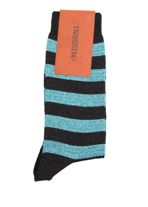 Siyah Mavi Çizgili Sim Dokulu Kadın Çorap