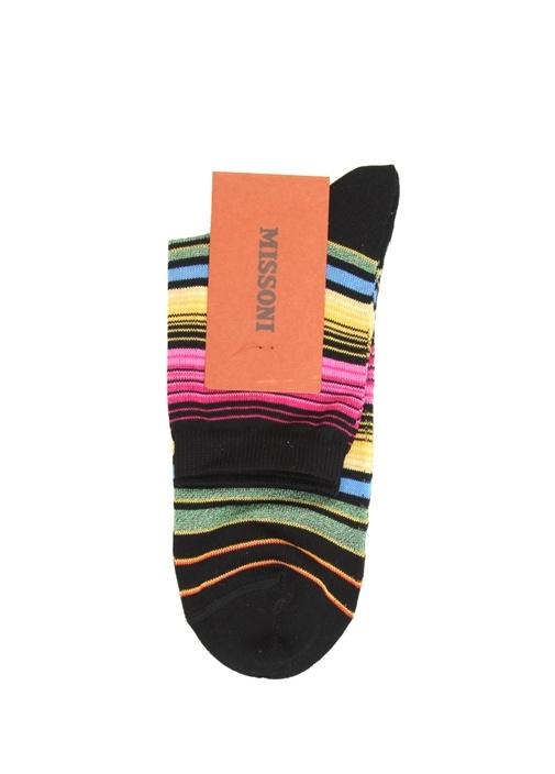 Siyah Çizgili Kadın Çorap