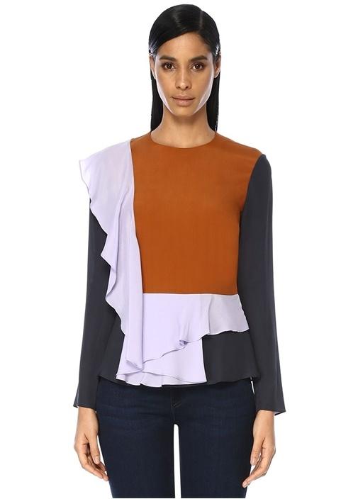 Colourblock Volanlı İpek Bluz