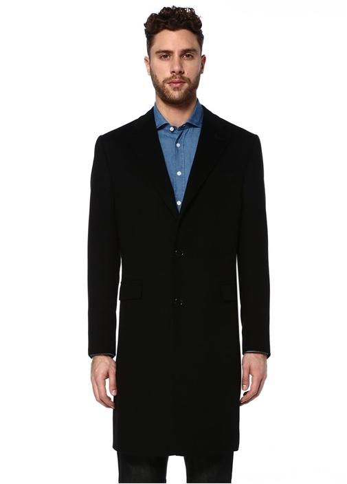 Siyah Kelebek Yaka Kaşmir Palto