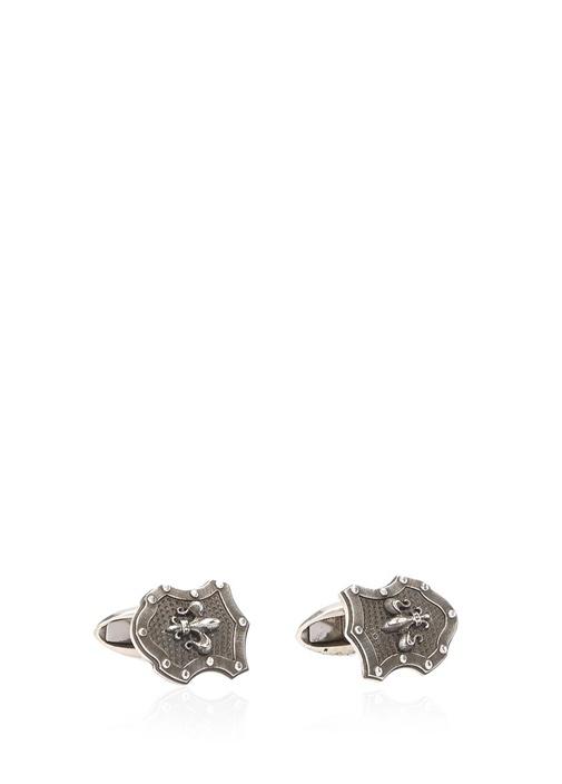 Silver Kalkan Formlu Erkek Gümüş Kol Düğmesi