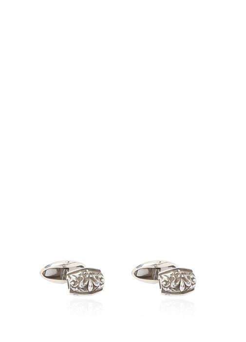 Silver Dikdörtgen Formlu Erkek Gümüş Kol Düğmesi