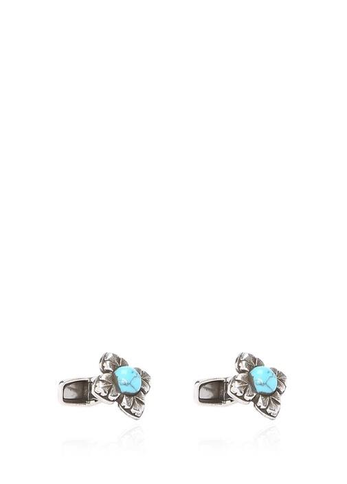 Silver Mavi Çiçek Formlu Erkek Gümüş Kol Düğmesi