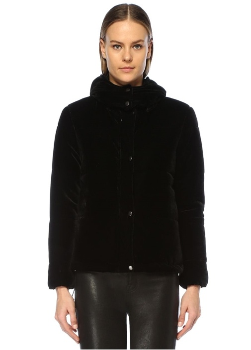 Siyah Kapüşonlu Puff Kadife Ceket