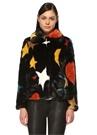 Siyah Dik Yaka Renkli Yıldız Baskılı Palto