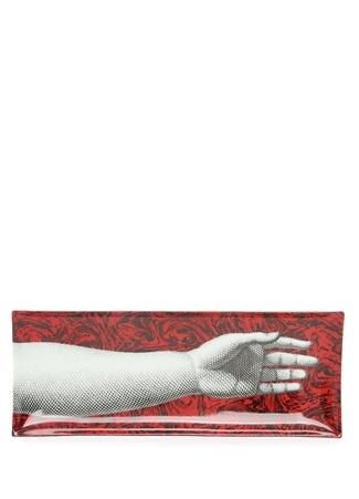 Rectangular Kırmızı Kol Baskılı Porselen Tepsi