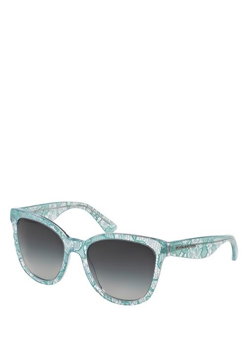 Mavi Kare Çerçeveli Dantelli Kadın Güneş Gözlüğü