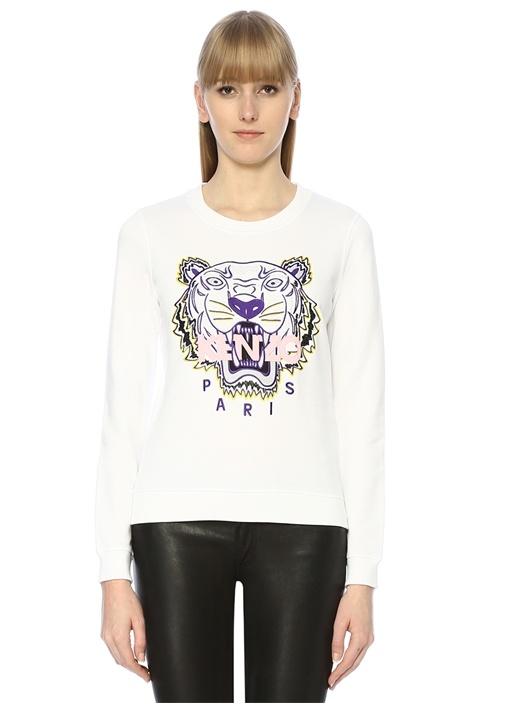 Beyaz Kaplan Nakışlı Sweatshirt