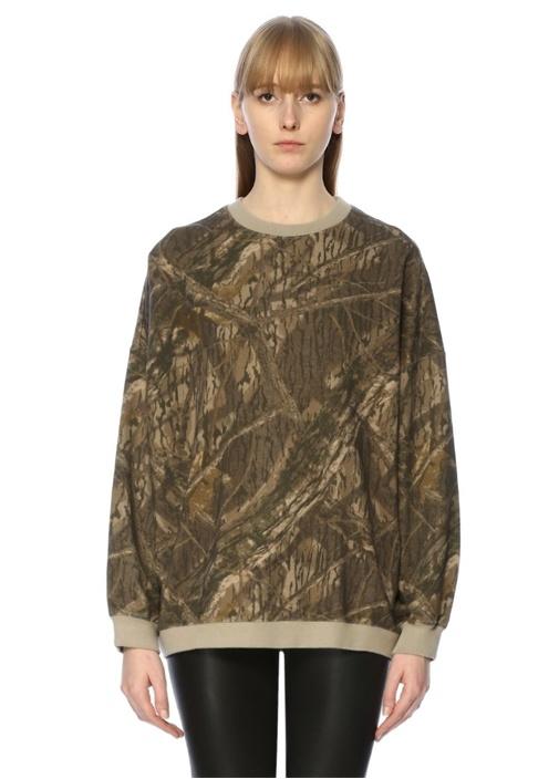Yeşil Kamuflaj Oversized Sweatshirt