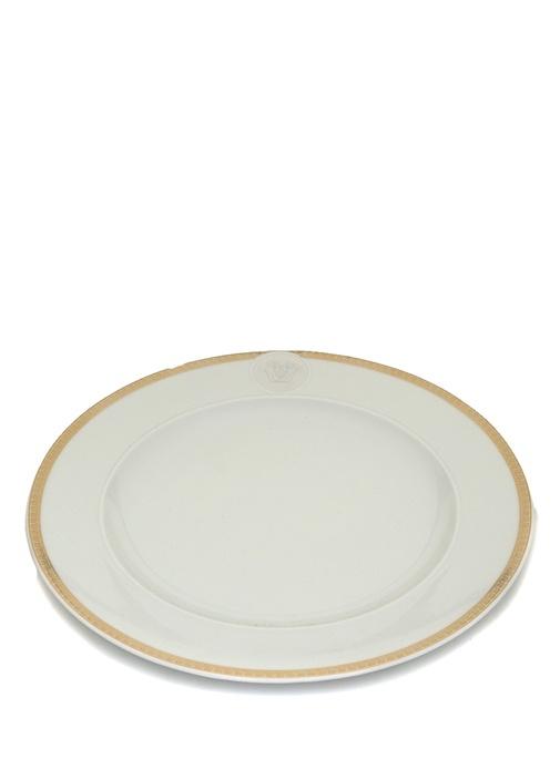 Medaillon Beyaz Gold Şeritli Porselen Pasta Tabağı
