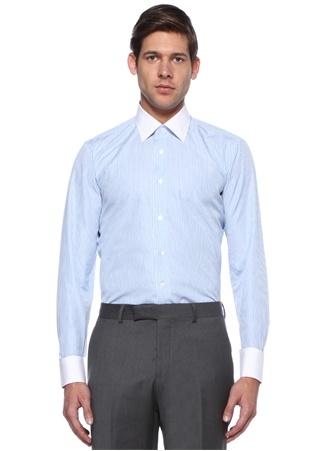 Mavi Beyaz Çizgili Yaka Detaylı Gömlek