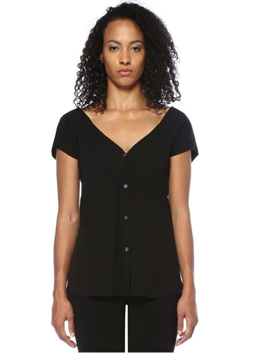 Siyah V Yaka Düğme Kapatmalı İpek Bluz