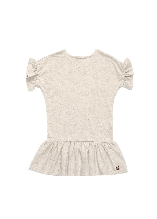 Bej Volan Detaylı Çocuk Elbise