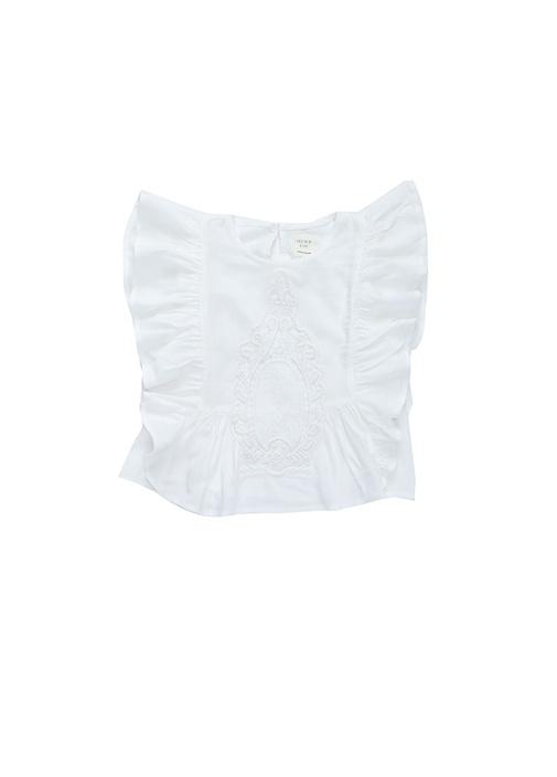 Beyaz Fırfırlı Nakışlı Kız Çocuk Bluz