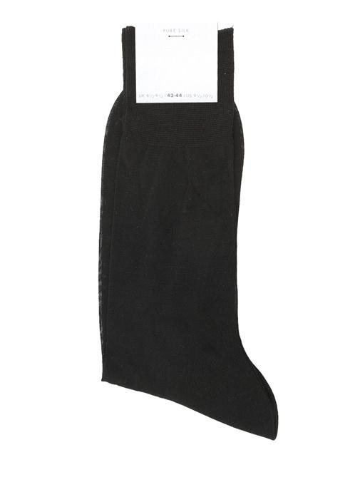 Siyah Logo Jakarlı Erkek İpek Uzun Çorap
