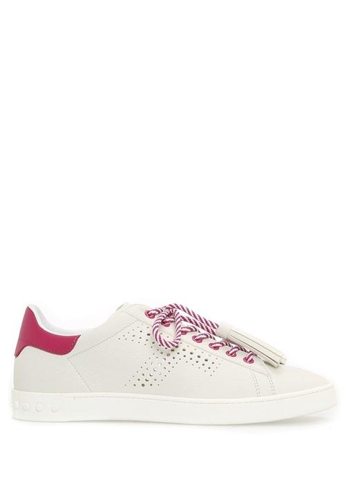 Tod's Çok Renkli KADIN  Püskül Bağcıklı Pembe Beyaz Deri Kadın Sneaker 422272 Beymen