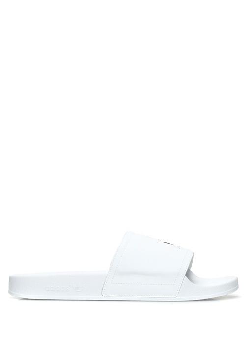 Y-3 Siyah-Beyaz ERKEK  Adilette Beyaz Geniş Bantlı Erkek Terlik 503776 Beymen