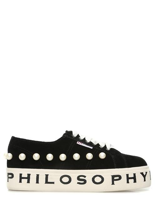 Superga x Philosophy Siyah KADIN  Siyah Süet İncili Kadın Sneaker 487762 Beymen
