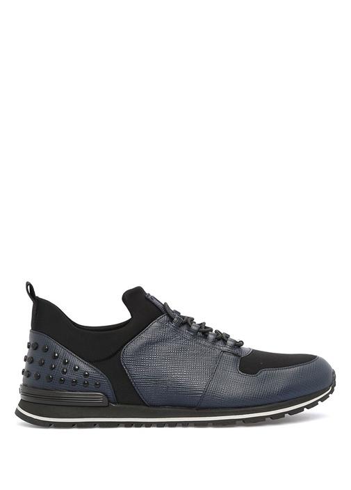 Tod's Siyah-Lacivert ERKEK  Zımbalı Siyah Deri Erkek Sneaker 422309 Beymen