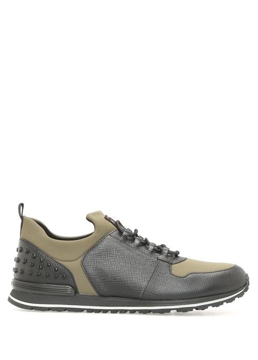 Tod's Siyah-Yeşil ERKEK  Zımbalı Yeşil Deri Erkek Sneaker 422312 Beymen