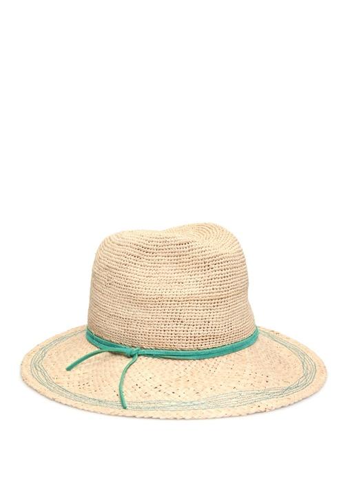 Bej Yeşil Bantlı Kadın Şapka