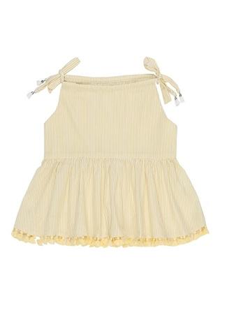 Zimmermann Kız Çocuk Sarı Çizgili Püskül Detaylı Bebek Elbise 10 Yaş Ürün Resmi