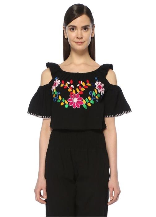 Siyah Omzu Açık Çiçek Nakışlı Kısa Bluz