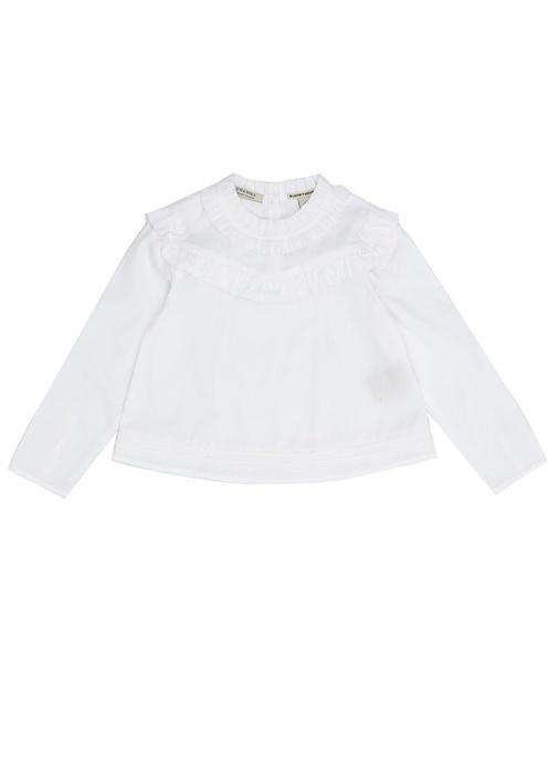 Beyaz Bisiklet Yaka Fırfırlı Kız Çocuk Gömlek