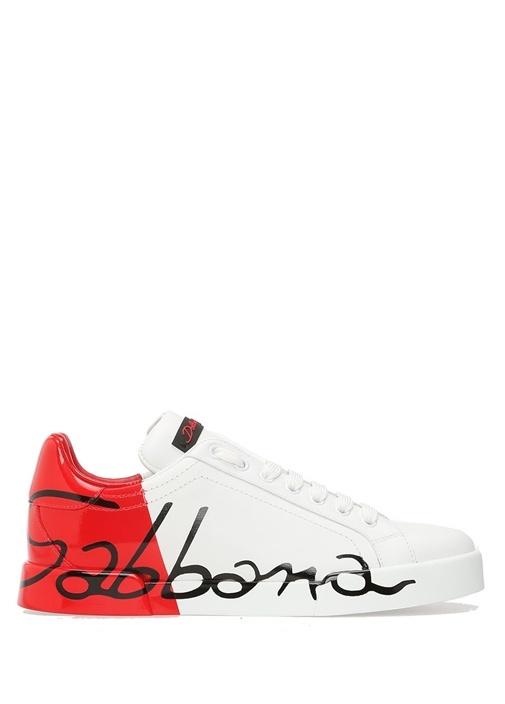 Portofino Beyaz Kırmızı Logolu Kadın Deri Sneaker