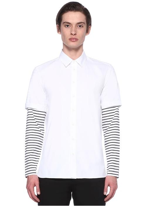 Beyaz Kolları Çizgi Detaylı Gömlek