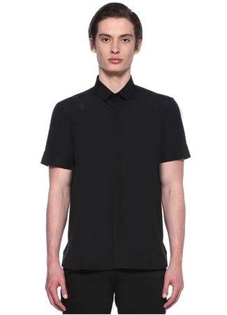 Neil Barrett Erkek Siyah Kısa Kollu Pamuklu Gömlek L Ürün Resmi