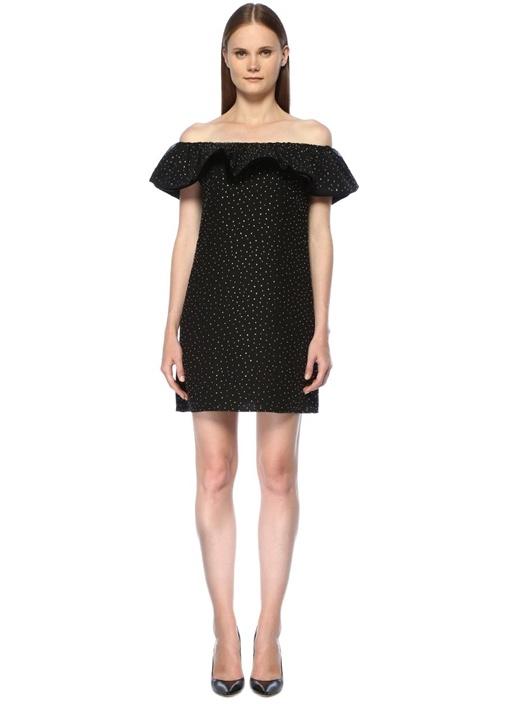 Siyah Omzu Açık Taş Baskılı Mini Elbise