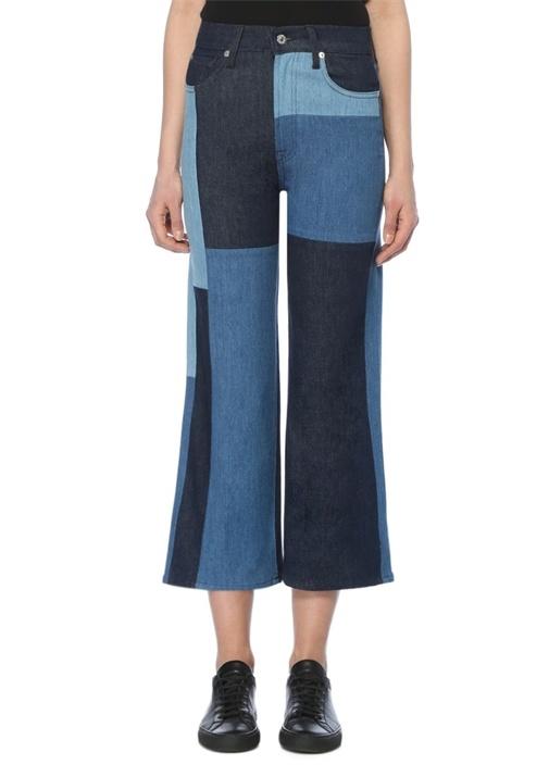 Mavi Yüksek Bel Cropped Jean Pantolon
