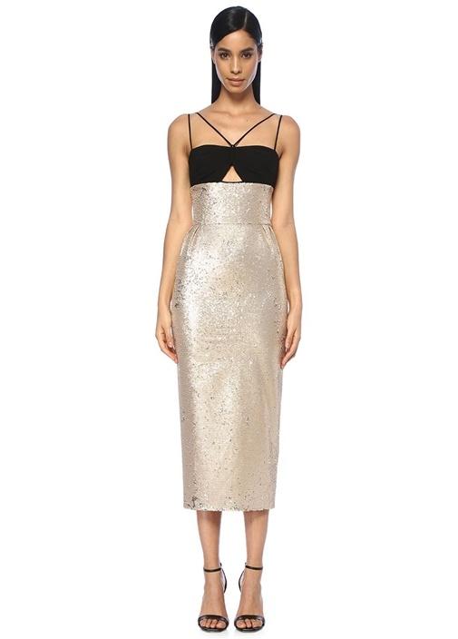 Rasarıo Siyah Gold Payetli Dekolteli Maksi Kokteyl Elbise – 3699.0 TL
