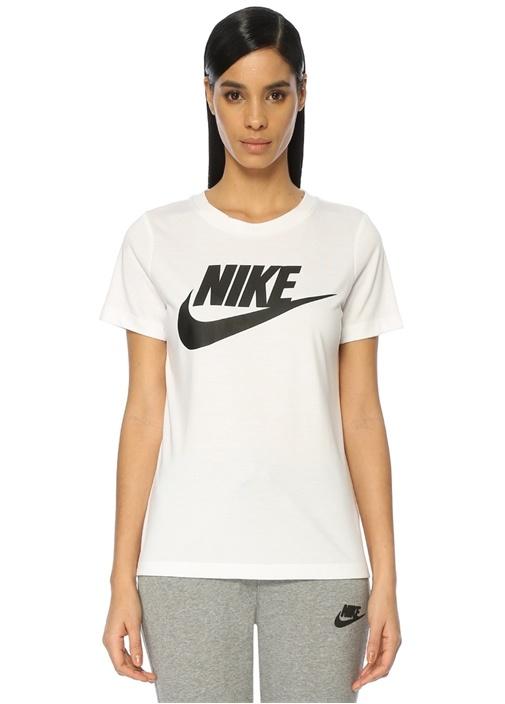Beyaz Logo Baskılı Tshirt
