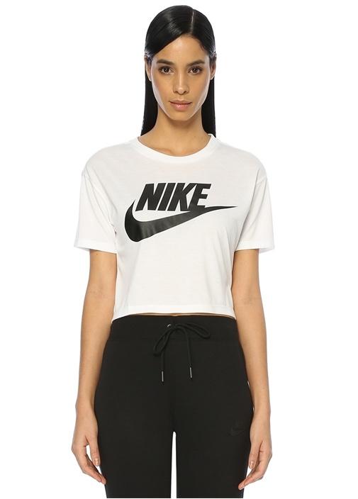 Beyaz Logo Baskılı Crop T-shirt