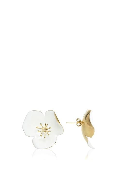 Beyaz Çiçek Formlu Gold Küpe