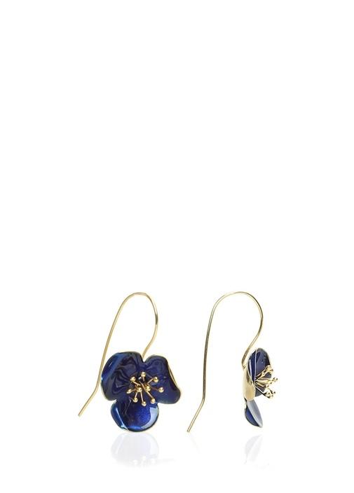 Lacivert Çiçek Formlu Gold Kordonlu Küpe